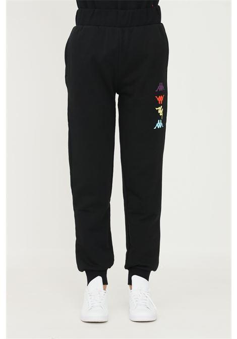 Pantaloni unisex nero kappa, modello sport con logo profilo multicolor KAPPA | Pantaloni | 38197VWCKK