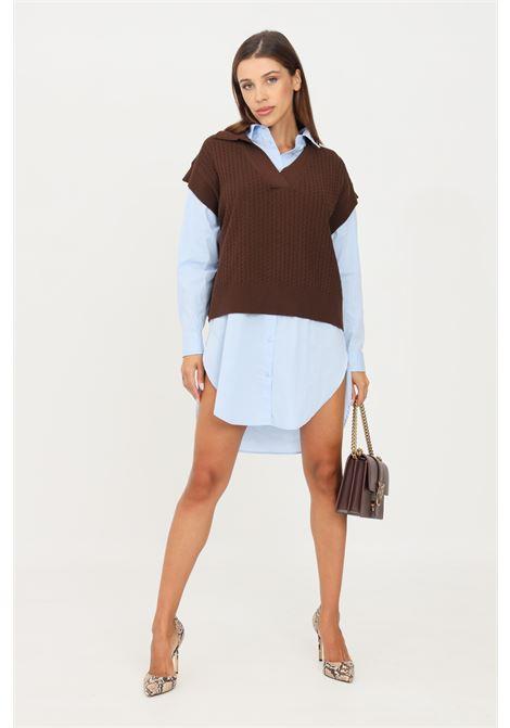 Brown women's vest by kontatto KONTATTO | Gilet | 3M8350CAFFÈ
