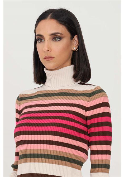 Maglioncino donna multicolor kontatto a collo alto KONTATTO | Maglieria | 3M8357ECRU-CAFFE-ORZO-MILITARE