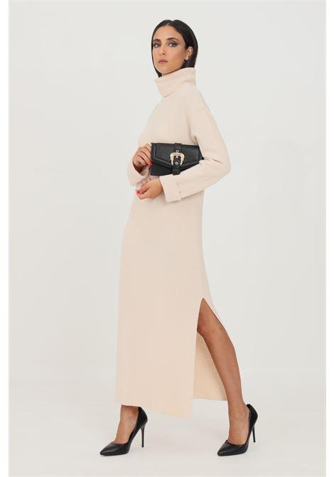 Abito in maglia donna beige kontatto taglio lungo KONTATTO | Abiti | 3M8367ECRU