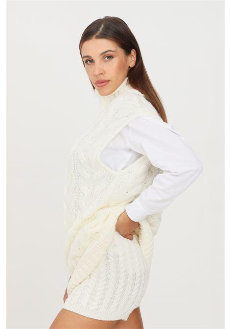Gilet in maglia donna latte kontatto taglio midi KONTATTO | Gilet | 3M8377LATTE
