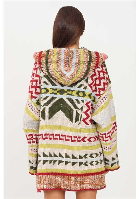 Cardigan donna multicolor kontatto con cappuccio KONTATTO | Cardigan | 3M8391VARIANTE ACIDO