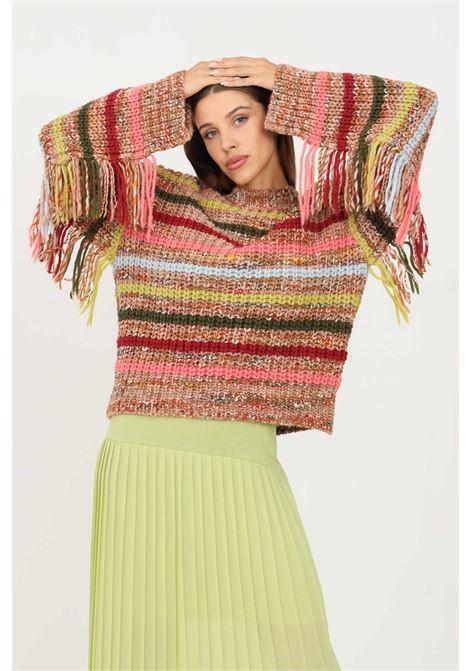 Maglioncino donna multicolor kontatto a girocollo con frange KONTATTO | Maglieria | 3M8392CUOIO