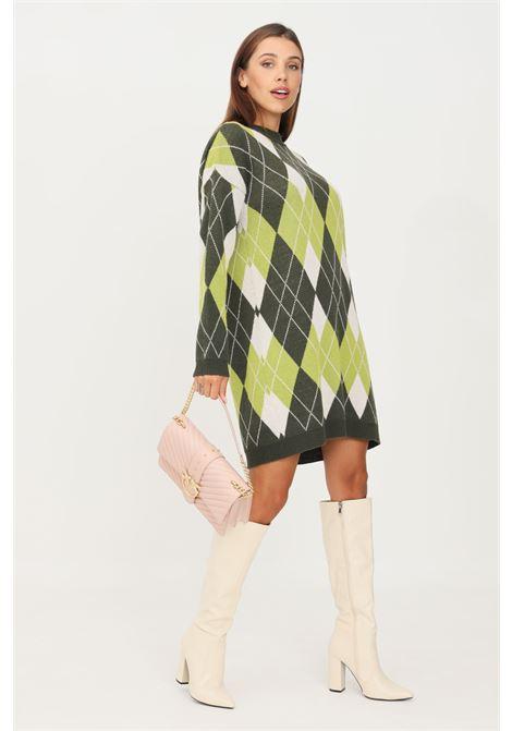 Green dress by kontatto short cut with geometric print KONTATTO | Dress | 3M8404MUSCHIO