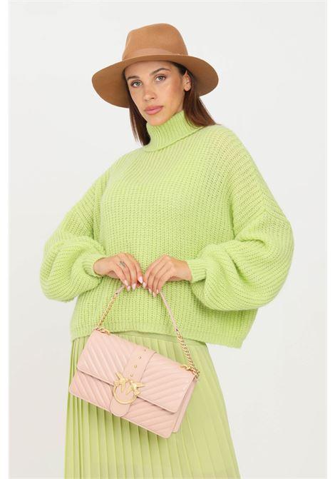 Maglioncino donna verde kontatto a collo alto con polsini elastici KONTATTO | Maglieria | 3M8408ACIDO