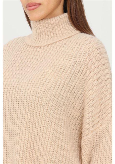 Maglioncino donna beige kontatto a collo alto con polsini elastici KONTATTO | Maglieria | 3M8408ECRU