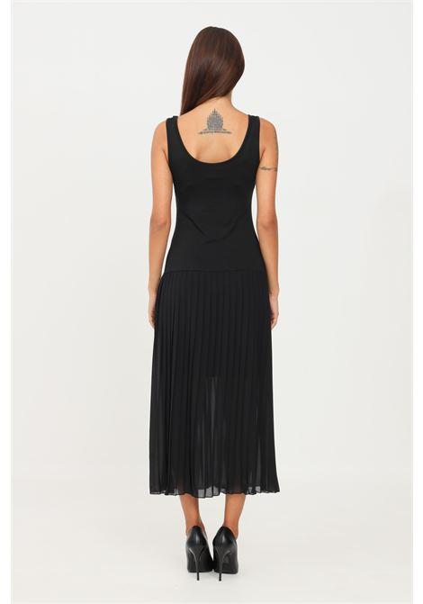 Black dress by kontatto with pleated skirt sleeveless model KONTATTO | Dress | B4101NERO