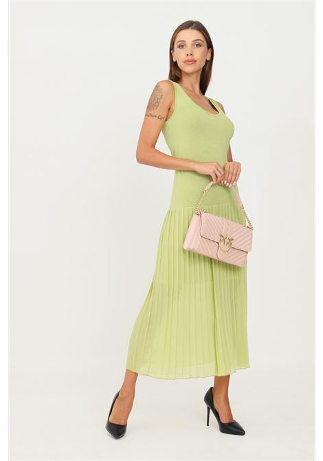 Green dress by kontatto with pleated skirt sleeveless model KONTATTO | Dress | B4101PISTACCHIO