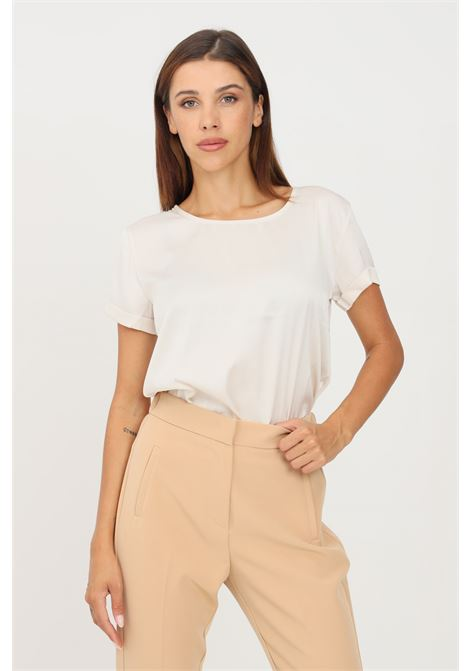 Champagne blouse by kontatto short sleeve KONTATTO | Blouse | MU4006CHAMPAGNE