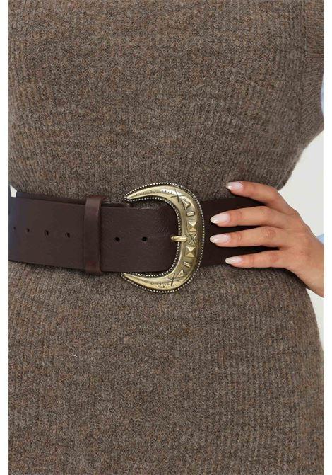 Cintura donna marrone kontatto con maxi fibbia oro antico KONTATTO | Cinture | NB700CIOCCOLATO
