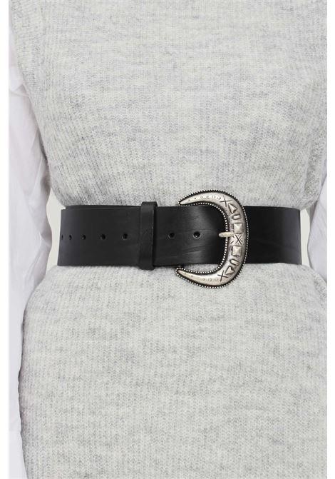 Cintura donna nero kontatto con maxi fibbia oro antico KONTATTO | Cinture | NB700NERO