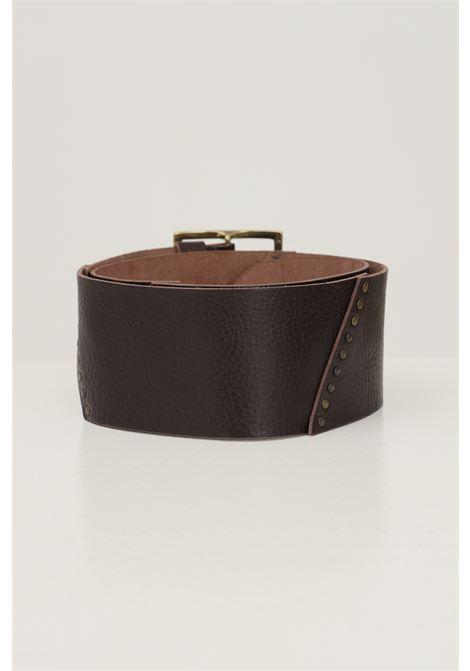 Cintura donna marrone kontatto con maxi fibbia oro antico KONTATTO | Cinture | NB703MORO