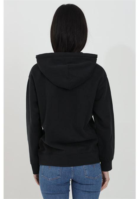 Black hoodie in solid color with contrasting front logo, kangaroo pocket. Elastic cuffs and bottom. Levi's  LEVI'S   Sweatshirt   18487-00040004
