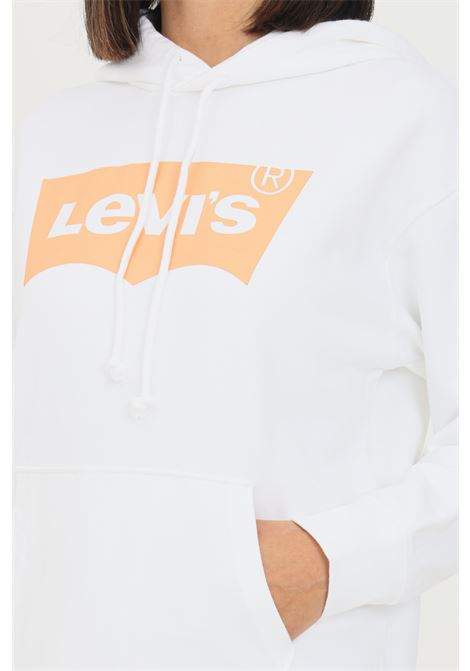 Felpa donna bianco levi's con cappuccio e logo frontale LEVI'S | Felpe | 18487-00740074