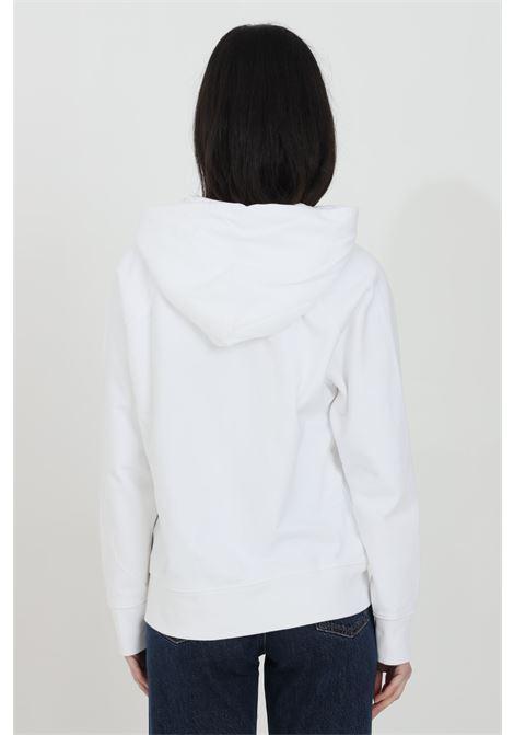 Felpa donna bianco levi's con cappuccio e lacci, stampa logo frontale, fondo e polsini elastici a costine. Modello comodo LEVI'S | Felpe | 35946-00100010