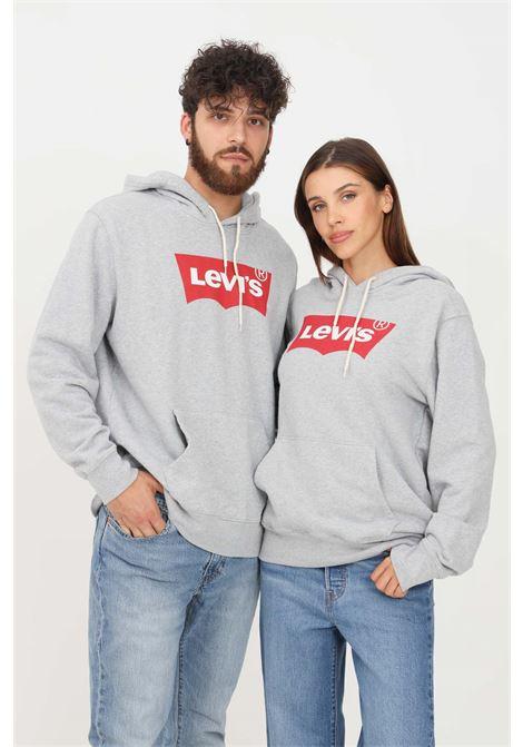 Felpa unisex grigio levi's con cappuccio e maxi logo frontale LEVI'S | Felpe | 38424-00000000