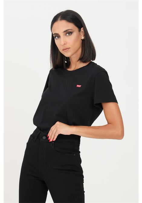Black perfect tee t-shirt with short sleeves and embroidered logo in contrast. Regular model. Levi's LEVI'S   T-shirt   39185-00080008