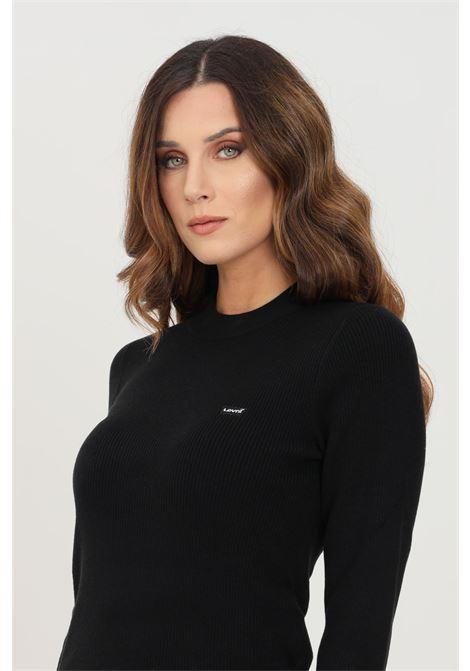 Maglioncino donna nero levi's modello girocollo a costine LEVI'S | Maglieria | A0719-00000000