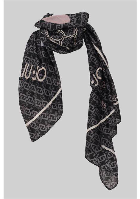 Black scarf by liu jo with allover logo print LIU JO | Scarf | 2F1052T030022222