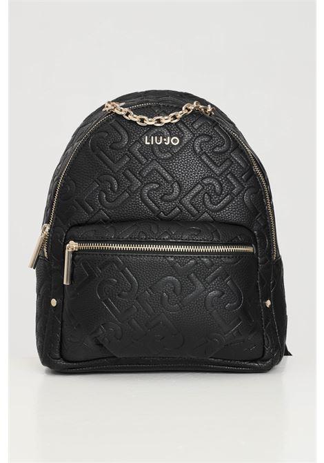 Black women's backpack with allover liu jo logo LIU JO | Backpack | AF1150E053822222