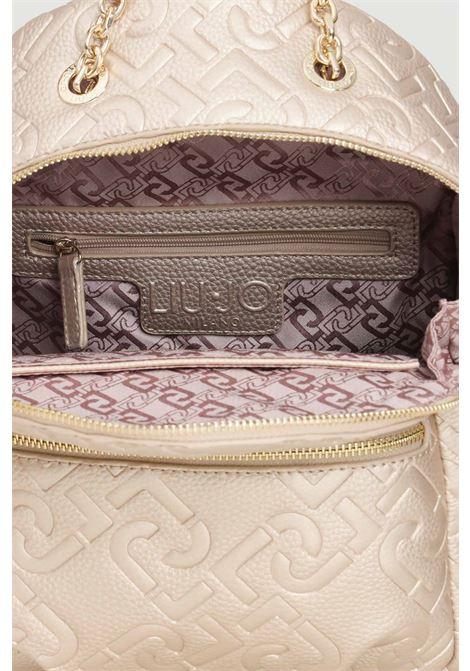 Gold women's backpack with allover liu jo logo LIU JO | Backpack | AF1150E053890048