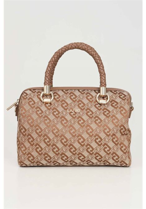Beige women's bag with jacquard logo liu jo LIU JO | Bag | AF1158T643891241