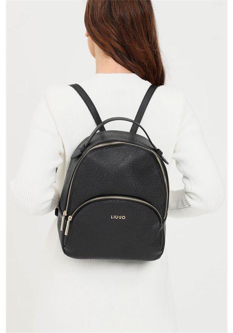 Black women's backpack with liu jo logo  LIU JO | Backpack | AF1159E008722222