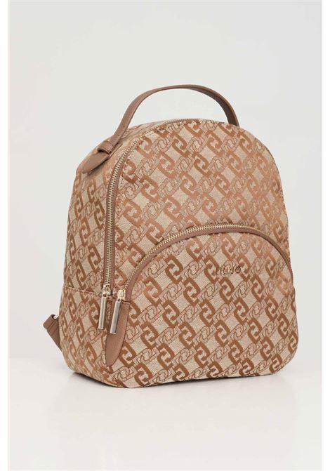 Beige women's backpack with jacquard logo liu jo LIU JO | Backpack | AF1159T643891241