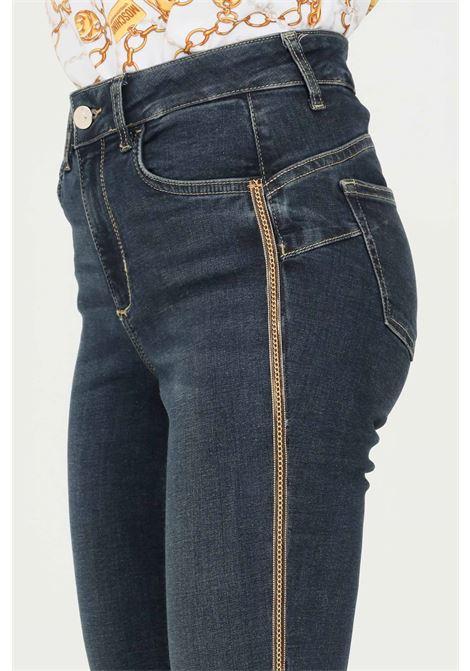 Blue women's jeans by liu jo with side gold bands LIU JO   Jeans   UF1013D426878096