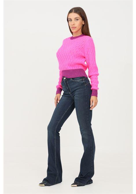 Blue women's jeans by liu jo with mini metal logo application on the back LIU JO   Jeans   UF1015D426878096