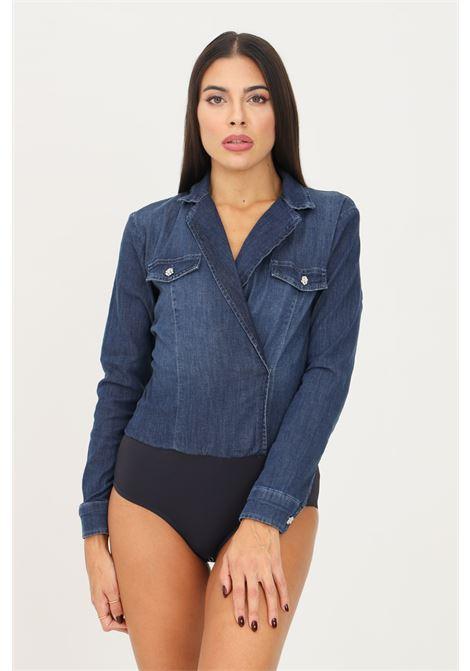 Stretch denim shirt, body model by liu jo with fake pockets on the front LIU JO   Body   UF1080D405178234