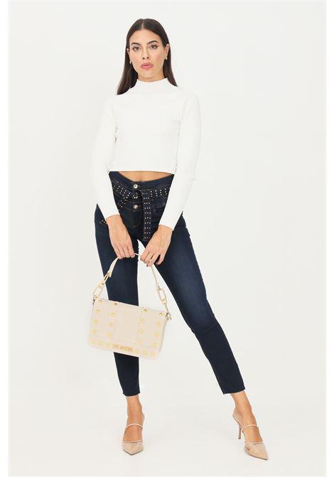 Blue women's jeans by liu jo with belt at the waist LIU JO   Jeans   UF1098D437678215