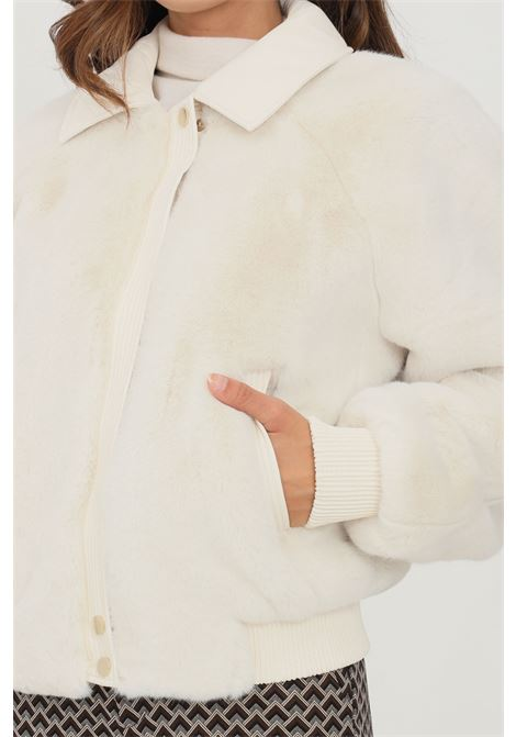 White women's jacket by liu jo with fur LIU JO   Jacket   WF1174E075410701