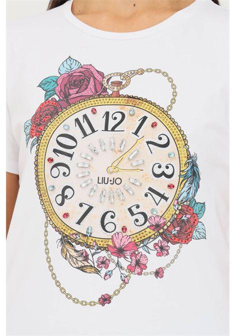 White women's t-shirt by liu jo with vintage watch print, short sleeve LIU JO   T-shirt   WF1198J5003S9107