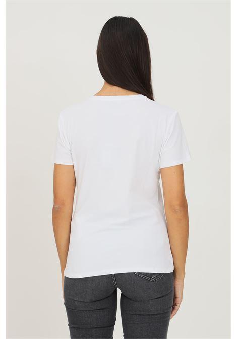 White women's t-shirt by liu jo with vintage telephone print, short sleeve LIU JO   T-shirt   WF1198J5003S9234