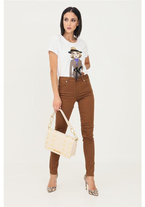 Brown women's trousers by liu jo with high waist LIU JO   Pants   WF1223T7144X0401
