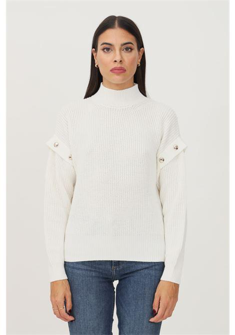 White women's sweater by liu jo with studs application on the shoulders LIU JO   Knitwear   WF1330MA51I10701