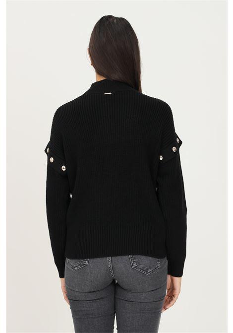Black women's sweater by liu jo with studs application on the shoulders LIU JO   Knitwear   WF1330MA51I22222