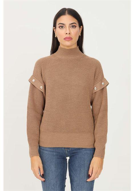 Brown women's sweater by liu jo with studs application on the shoulders LIU JO   Knitwear   WF1330MA51IX0307