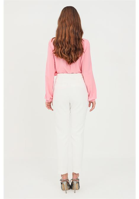 White women's trousers with belt at waist by pinko LIU JO | Pants | WF1368T789610701