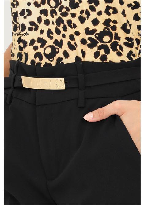 Black women's trousers with belt at waist by pinko LIU JO | Pants | WF1368T789622222