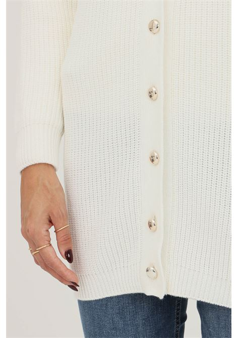 White women's cardigan by liu jo with gold buttons on the front and studs application on the shoulders LIU JO   Cardigan   WF1395MA51I10701