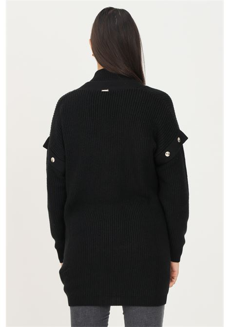 Black women's cardigan by liu jo with gold buttons on the front and studs application on the shoulders LIU JO   Cardigan   WF1395MA51I22222