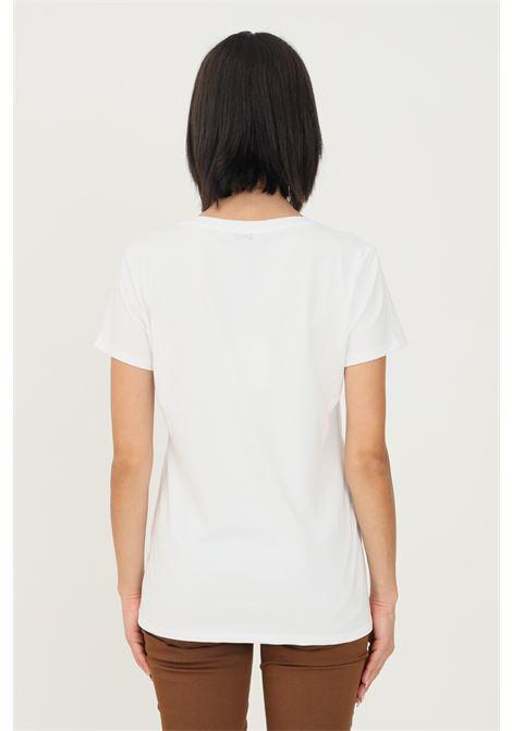 White women's t-shirt by liu jo with front print and jewel applications short sleeve LIU JO   T-shirt   WF1551J9944S9346
