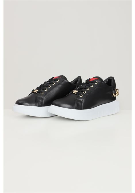 Black women's sneakers with hearts chain application love moschino  LOVE MOSCHINO | Sneakers | JA15144G1D-IA0000