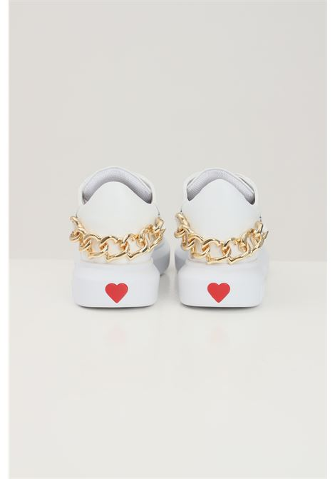 White women's sneakers with hearts chain application love moschino  LOVE MOSCHINO | Sneakers | JA15144G1D-IA0100