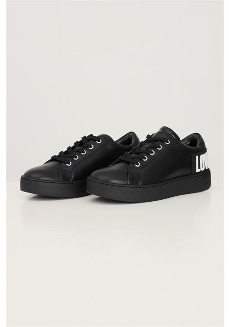 Sneakers donna nero love moschino con applicazione logo in gomma sul retro LOVE MOSCHINO | Sneakers | JA15573G0D-IA0000