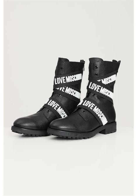 Stivaletti donna nero love moschino bande logo a rilievo a contrasto LOVE MOSCHINO | Stivaletti | JA24174G1D-IC0000