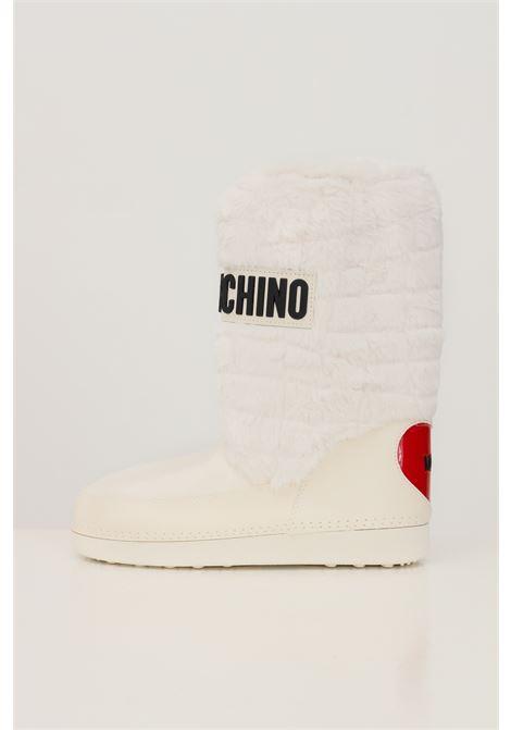 Stivali da neve donna bianco love moschino con dettagli in pelliccia e logo in gomma LOVE MOSCHINO | Stivali | JA24232G0D-ISN11A