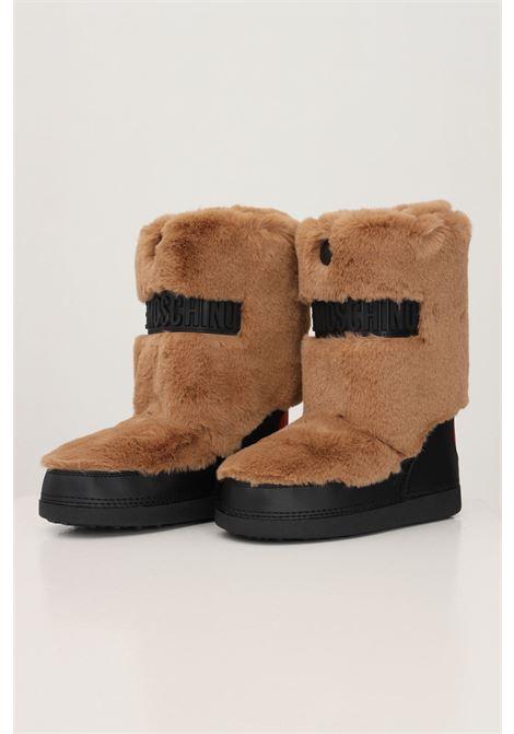 Stivali da neve donna cammello love moschino con dettagli in pelliccia e logo in gomma LOVE MOSCHINO | Stivali | JA24232G0D-ISQ105